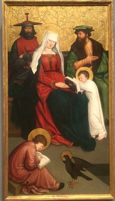 St. Mary Cleophas and Her Family, by Bernhard Strigel, ca. 1520. Child lower left is writing letterforms that may be Hebrew or Greek. National Gallery of Art, photo by bwe.