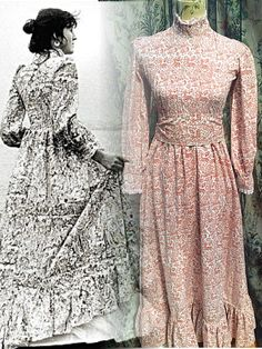 uber rare vintage Laura Ashley Wales pelican & stag print 70s maxi prairie victoriaan dress uk 8 10 US 4-6 EUR 34