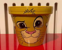 Simba Lion King inspired hand painted plant pot Children's garden outdoor fun terracotta clay gift garden plant Flower Pot Art, Flower Pot Design, Clay Flower Pots, Flower Pot Crafts, Clay Pots, Painted Plant Pots, Painted Flower Pots, Simba Lion, Painted Boxes