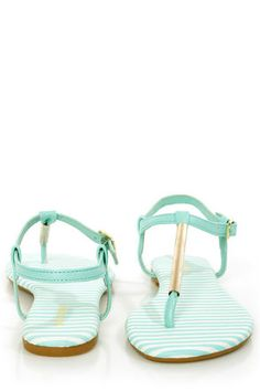 92938b7d186c Bamboo Macalen 06 Mint Stripe and Gold T-Strap Thong Sandals