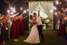 barn wedding sparkler send off, barn lights, barn curtains, Caressa Rogers Photography, The Barn at High Point Farms