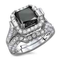 18k White Gold 6ct TDW Certified Black Diamond Princess Cut 2-Piece Ring Set (E-F, VS1-VS2)