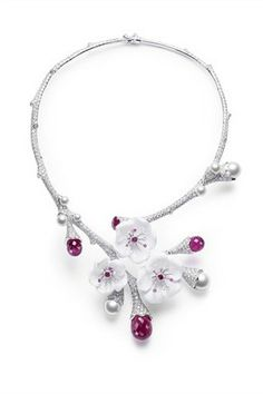 Piaget   Limelight Garden Party 2011 necklace in white gold with flowers carved in white chalcedony, rubellites, pink sapphires, pearls and diamonds