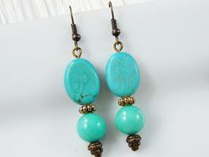 Turquoise & Antiqued Brass drop earrings  by Hancelscloset on Etsy, $16.99