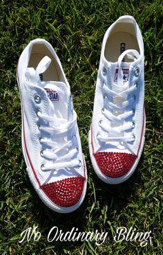 b9d7bebf096 Custom Red Bling Wedding Converse Low Toes by NoOrdinaryBling