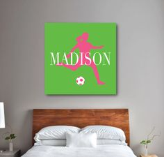 Our personalized soccer canvas will look great in your bedroom or dorm room.  You can customize it with any of the colors from our palette or order it in the green, bubble gum pink and white color combo shown. This custom wall art is the perfect bedroom decor for any girl or teen soccer player! Sports themed Christmas present or birthday gift.