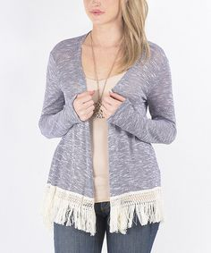 Look at this Gray Fringe Open Cardigan on #zulily today!