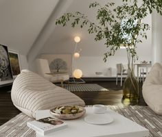 wohnzimmer einrichten sitzsäcke dachschräge eleganter teppich pflanzen
