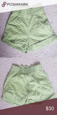 Laura Byrnes California Olive High Waisted Shorts Worn a couple of times. Laura Byrnes brand. Spring 2013 Collection. Zipper in the back. You can also see elastic at waist in back only. Size Small. Laura Byrnes Shorts