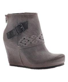 Look at this #zulilyfind! Soft Gray Robertson Leather Wedge Bootie #zulilyfinds