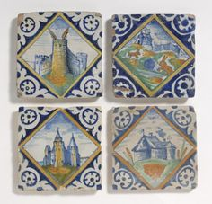 policromada del siglo 17 azulejos antiguos paisaje