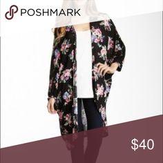 Floral Print Longline Kimono Black Kimono in size XL by Bobeau. Dolman sleeves. Lightweight. Rayon/spandex. Worn a few times. Bobeau Sweaters Cardigans