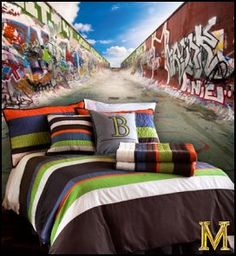 Skateboard graffiti rooms and ideas on pinterest for Boys skateboard bedroom ideas