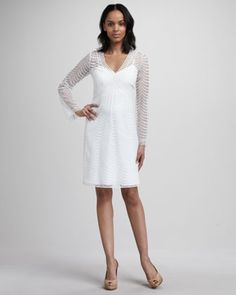 Bell-Sleeve Crochet Dress by Phoebe Couture at Neiman Marcus.