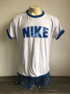 vintage 80 s oversized white and blue mesh polo nike t shirt