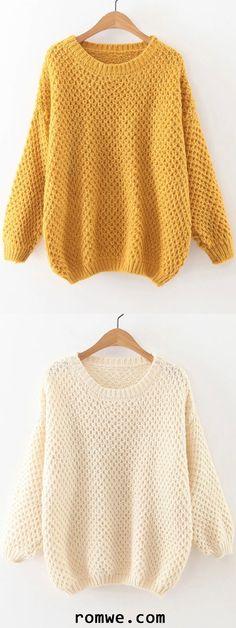 Round Neck Drop Shoulder Sweater