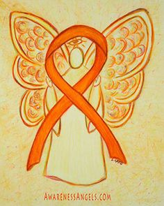 The orange awareness ribbon is commonly used for Multiple Sclerosis, Leukemia, Self Injury, ADHD, Kidney Cancer, and Muscular Dystrophy awareness to name a few. Let this awareness angel be support of them and the other awareness causes that use the orange ribbon color!