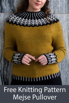 Free Knitting Pattern for Mejse Sweater - Long-sleeved pullover with a circular yoke and cuffs in a graphic stranded pattern inspired by jewelry. Knit in the round from the top down. Sizes XS (S) M (L) XL Designed by Hanne Rimmen for Filcolana Fair Isle Knitting Patterns, Knitting Machine Patterns, Sweater Knitting Patterns, Knitting Designs, Free Knitting, Crochet Sweater Design, Pullover Design, Knit Vest Pattern, Pullover Sweaters