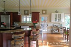 Two Story Cottage  wallpapered ceiling kitchen, yellow stripes