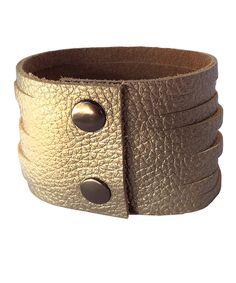 Metallic Gold Slashed Leather Bracelet