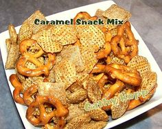 Easy Peasy Caramel Snack Mix. Make a big batch, stores and freezes great, and YOU get to control what flavourings, salt, sugar etc.