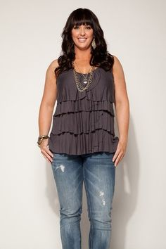 Love this look New Women Plus Size ROSE RUFFLED SUMMER TANK TOP IN CHARCOAL In Size 2X apple shape