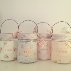 Hand Made by Betsy Blair HomePretty jam jars, decorated with delicate vintage style floral fabrics. Pop in a tealight for a gentle twinkle of light indoors or out.Alternatively use to display your favourite blooms.Measurements:H10 x D7cmDO NOT LEAVE UNATTENDEDKEEP OUT OF REACH OF CHILDRENUSE WITH TEALIGHT ONLYPlease note: Any excess paid on combined P