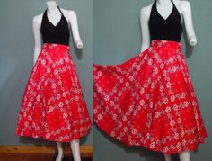 Vintage 50s Skirt 1950s Bandanna Red White Black by mustangannees, $64.00