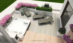 Projekt tarasu z jacuzzi - projekt indywidualny Green Design Outdoor Furniture Sets, Outdoor Decor, Jacuzzi, Landscape Architecture, Spa, Green, Design, Home Decor, Projects
