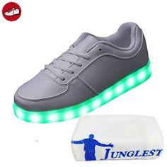 [Present:kleines Handtuch]Weiß EU 40, USB Licht Herren Farbwechsel Farbe weise 7 Damen Turnschuhe High LED Weiß Sneaker Schuhe mit Leuchtschuhe JUN