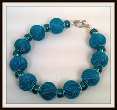 Electric Blue Mesh Beads and Teal Glass by BeadTrunkCreations, $14.00