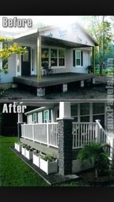 9 Beautiful Manufactured Home Porch Ideas porch with stone columns on manufactured home board ideas diy projects Mobile Home Living Mobile Home Porch, Mobile Home Living, Porches For Mobile Homes, New Mobile Homes, Remodeling Mobile Homes, Home Remodeling, Bathroom Remodeling, Mobile Home Renovations, Mobile Home Exteriors