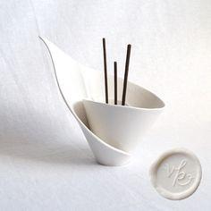 Porcelain incense burner @vanillakiln #porcelain  #white  #ceramic  #votive #zen #spiral