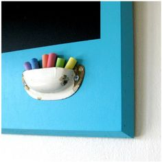 chalk holder made from an old drawer pull. - have the chalkboard, need the frame and a chalk holder! Diy And Crafts, Crafts For Kids, Arts And Crafts, Wooden Crafts, Art Crafts, Decor Crafts, Paper Crafts, Chalk Holder, Crayon Holder