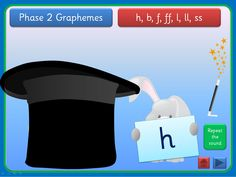 An interactive PowerPoint that can be worked through at your own pace. Each slide has a set of graphemes from Phase 2 letters and Sounds. Click the Magician's hat and out pops a rabbit with grapheme. You will hear the sound and this can be repeated. Click the wand and rabbit disappears, ready for you to click on the magic hat again. The presentation could be used for small groups and individual children in addition to whole class teaching