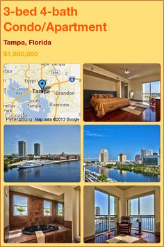 3-bed 4-bath Condo/Apartment in Tampa, Florida ►$1,890,000 #PropertyForSale #RealEstate #Florida http://florida-magic.com/properties/6692-condo-apartment-for-sale-in-tampa-florida-with-3-bedroom-4-bathroom