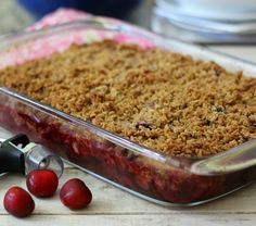 Cherry Crisp - A summertime dessert made with fresh cherries, topped with a oat, butter and brown sugar crumble.