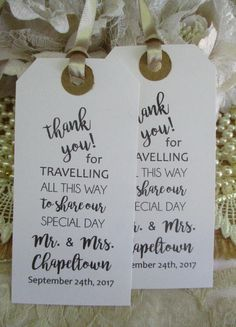 Thank you for travelling all this way to share our special day - Vintage Style Tags Unique Wedding Table Decorations. The perfect start to your wedding celebrations and a lovely keepsake of your wonderful day for your guests to treasure. Vintage style tags personalised with your name and