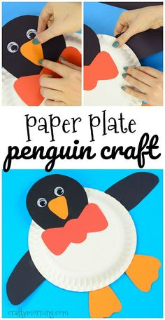 Adorable paper plate penguin craft for kids to make! Fun for winter time.