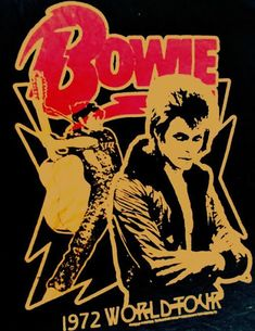 David Bowie, World Tour Concert Poster. Rock Posters, Band Posters, Rock And Roll, Ziggy Stardust Album Cover, Rock Vintage, Pop Art, David Bowie Ziggy, David Bowie Poster, Vintage Music Posters