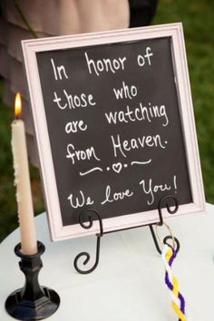 Wedding Memorial ideas - Remembering Loved Ones at your Wedding Reception or wedding ceremony - LOVE this idea!
