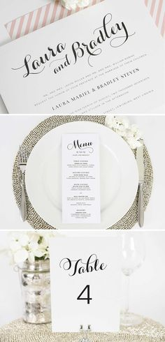 Romantic Script Wedding Invitation Suite - Menu, Table Numbers, Wedding Invite. Perfect for a garden wedding!