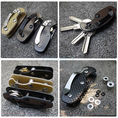 Carbon Fiber Key Holder Organizer Clip Folder Keychain EDC Pocket Tool