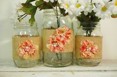 Red Vintage Floral Mason Jar Set with Burlap Ribbon by TheWrapGap, $18.00