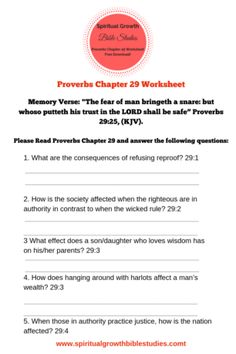 Proverbs Chapter 29 Bible study worksheet Proverbs Bible study worksheet for homeschoolers, Free Bible study worksheet for home and church Bible study, Bible study worksheet for personal and group Bible study. Free Bible Study, Bible Study Group, Bible Study Journal, Verses About Wisdom, Wisdom Books, Book Of Proverbs, Proverbs 31, Youth Bible Lessons, Bible Quiz