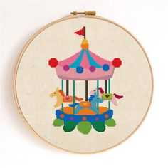 Cute Carousel Counted Cross Stitch Pattern Instant by SimpleSmart, $5.00
