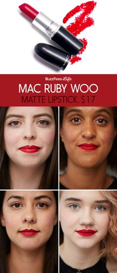 Here's what MAC Ruby Woo red lipstick looks like on four different women