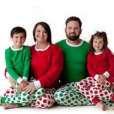 0fca22d5b3 Christmas Family Matching Pajamas Red Green Dot Sleepwear Two  Pieces