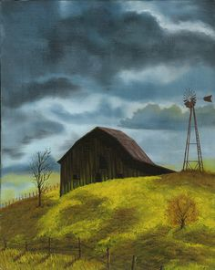 Barn with Windmill, 16 x 20 print of original oil painting