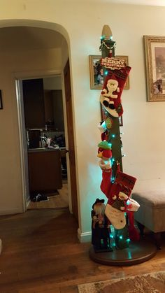 Cheap and Easy DIY Christmas Decorations Ideas for Home – Christmas Stocking Posts Christmas Stocking Holder Stand, Diy Stocking Holder, Christmas Stocking Hangers, Free Standing Stocking Holder, Santa Stocking, Stocking Tree, Diy Christmas Decorations Easy, Diy Christmas Gifts, Christmas Projects